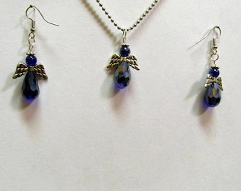 Dark Blue Rainbow Crystal Small Winged Easter Angel Necklace and Earring Set 03