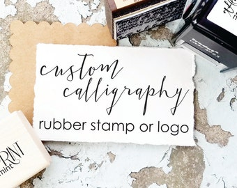 Custom Calligraphy Rubber Stamp or Logo, Calligraphy Business Logo, Custom Handlettering Stamp, Wedding Calligraphy, Photography Logo