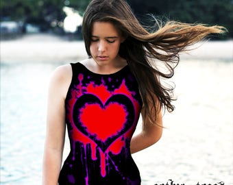 Splattered Heart Goth Print One Piece Swimsuit