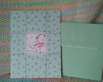 Green Rosette Flowers Teddy Bear Card ~handmade~ OOAK