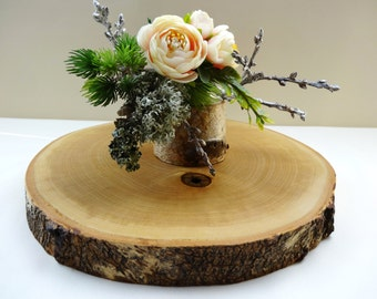 27cm Wood Slab, Wood Slice Cake Stand, Rustic Wood Cake Stand, Birch Cake Stand, Wood Slice Cake Base,Seasonal, Holiday Decor S13