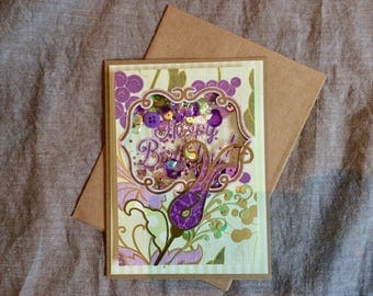 Purple Flower Birthday Shaker card
