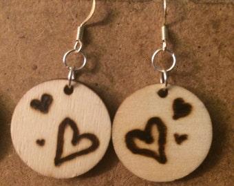 Wood Burned Heart Earrings