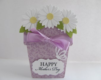 Purple Mother's Day Card, Mother's Day Flower Pot Card, Flower Pot Cards, Mother's Day Flower Cards, Mother's Day Flowers, Mother's Day