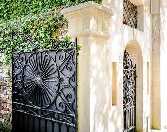 "Charleston Art, Charleston Photography, Iron Gate, Window Box, Charleston Gate, Blue, Southern Decor, Black and White Option - ""Corner Gate"""