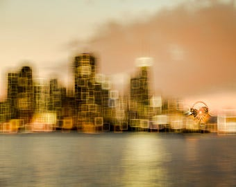 "Chicago Art, Chicago Photography, Abstract Chicago Print, Chicago Skyline, Lake Michigan, Ferris Wheel, Nursery Art, Modern ""Spinning Wheel"""