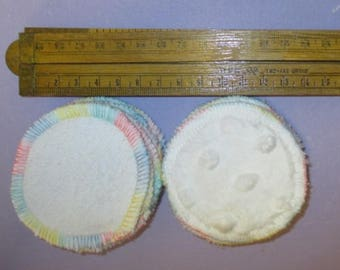 12 x  Eco Friendly Cotton Terry/Minky Scrubbies (7cm dia) Reusable Mini Reusable Pads - So Soft  - Australian Made