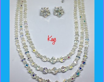 Vintage Tripple strand Swarovski Crystal Necklace and Earrings Keys SALE
