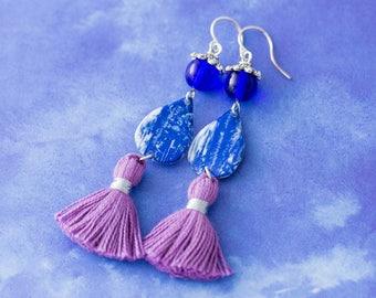 Blue and Purple Tassel Earrings with Vintage Tin, Teardrop Earrings, Tassel Jewelry, Bohemian Earrings