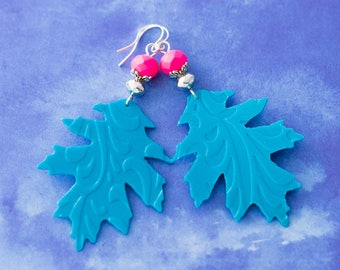 Hot Pink and Teal Oak Leaf Earrings, Recycled Shampoo Bottle Earrings, Recycled Earrings, Recycled Jewelry, Recycled Plastic Earrings