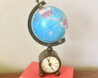 Vintage Desk Clock with Globe Decor, Battery Operated