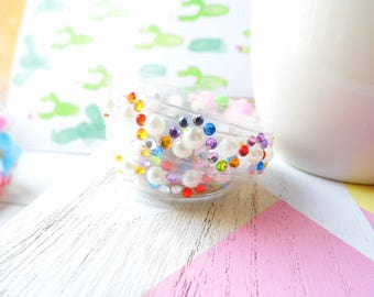 Clear Duck tape with rhinestones and perls, decorating tape with rhinestones