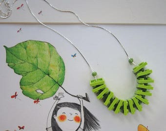 Choker necklace with plastic bricks acid green dishes and glass crystals in solid