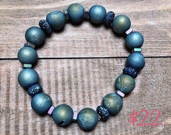 Blue Agate Beaded Bracelet