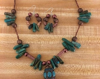 Handmade turquoise and copper necklace and earring set