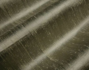 "Lead - Pure Silk Dupioni Fabric - Handwoven - By the Yard - 54"" Wide"