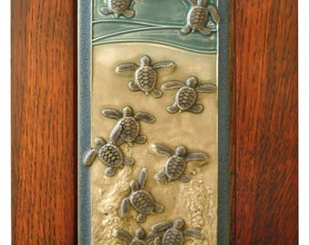 Framed art tile, Ceramic wall art, Leaving the Nest,  7 x 11 inches  Baby Green sea turtles