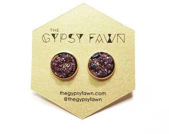 Multicolored Purple Large Druzy Galaxy Stud Earrings