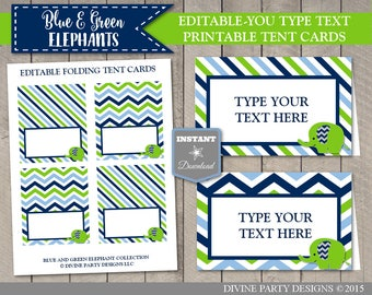 INSTANT DOWNLOAD Editable Printable Blue and Green Elephant Baby Shower Folding Tent Cards / Place Cards / Item #2608