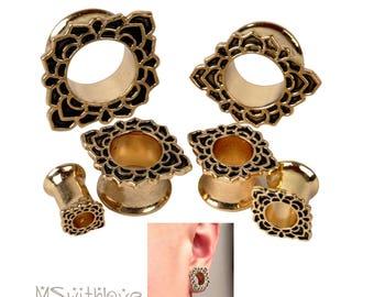 Indian Lotus Plugs - 2PC Ear Plugs - Ear Gauges - Tribal Plugs - Indian Plugs - Piercing Plugs - Gauge Jewelry - Ear Tunnel - Brass Tunnel