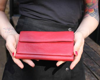 Travel Wallet Red Leather