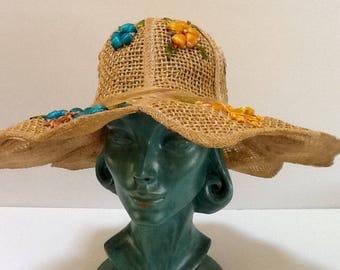 Vintage Straw Flower Floppy Hat / Large Sun Hat / 1960's 70's / Summer Hat / Retro / Abstract / Hippie / High Fashion / Beach Hat