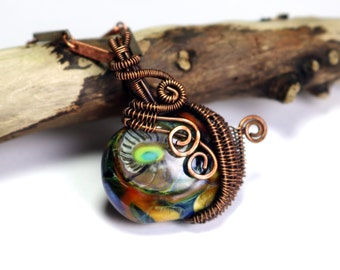 Glass Lampwork Pendant - Wire Wrapped Necklace - Wire Pendant - Wire Wrapped Jewelry - Ships Free in US