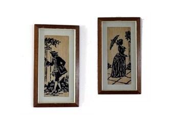 Regency. Vintage needlepoint. Framed cross stitch. Jane austen. Woman silhoutte. Man silhoutte.Antique silhoutte. Jane austen gifts.