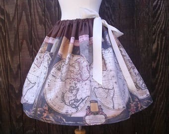 Vintage Map Adjustable Waist Skirt, Map Skirt, Vintage World Map, Plus Size, One Size Fits All, Beautiful, OOAK, **ready to ship**