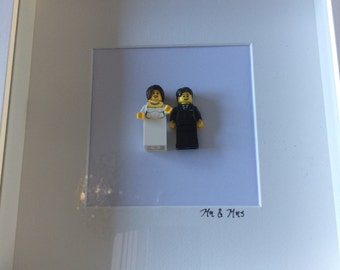 Bride and Groom Lego figure frame (can be personalised)