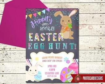 Easter Egg Hunt Invitation, Easter Invitation, EGG-HUNT, Easter Party, Easter Bunny, Card, Digital, Print file, Party, Printable Invitation