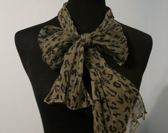 Camouflage Olive Green Scarf Leopard Print Scarf, Animal Print Scarf