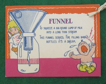 Vintage 1920's Bridal Shower Cartoon Gift Card - Funnel - Free Shipping