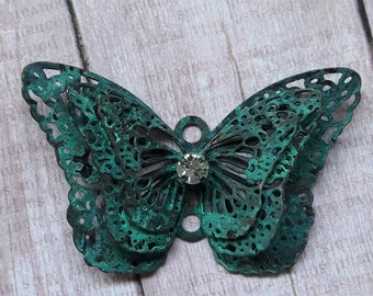 Green Patina Dimensional Butterfly Pendant Jewelry Supplies
