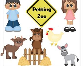 DIGITAL SCRAPBOOKING CLIPART - Petting Zoo - Exclusive