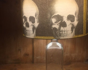 Gothic Table Lamps - Skulls Shades & Antique Rochester Germicide Co Embalming Fluid Bottle Bases  - Gothic Decor