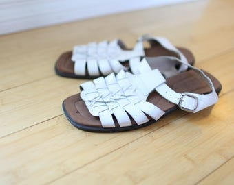 vintage woven white leather hurache sandals womens 8 1/2