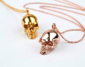 Skull necklace, Solid gold skull, 3d skull pendant, Human skull necklace, Skull charm, Skull jewelry, Human skull
