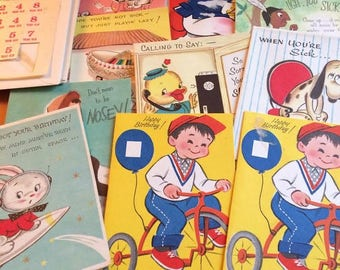Vintage Greeting Card Assortment Birthday Get Well Children Colourful
