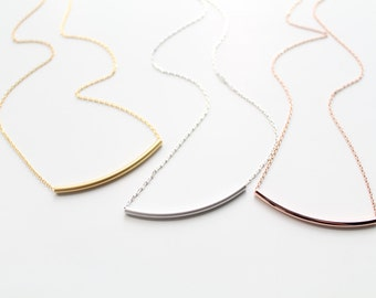 Curved Tube Necklace, Dainty Curved Tube