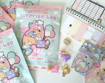 Chic Kawaii Super surprise bag, stickers, planners, lovely and cute gift, charms and more, chickawaii