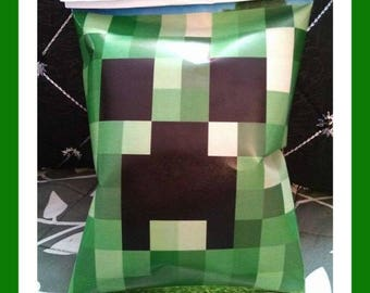 Personalized chip bag Minecraft creeper treat bags, FREE SHIPPING, party favor, goody bag