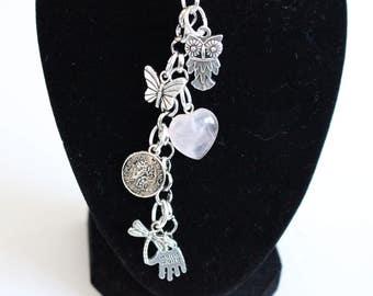 Silver Keychain with Owl Charm
