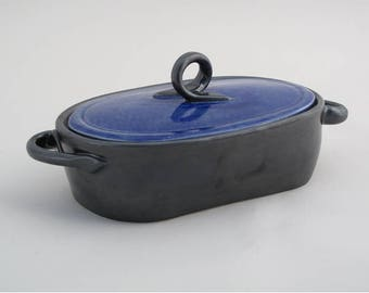Oblong, Royal Blue & Black, Lidded Casserole Dish
