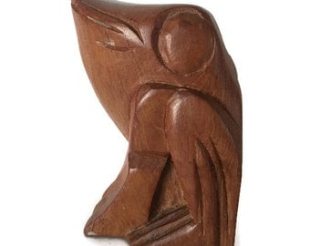 """Vintage Hand Carved Wooden Sitting Frog, 5"""" Tall"""