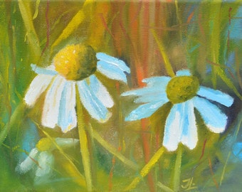 Small Oil Painting. Flowers Painting. Abstract flowers art. Wall art. Canvas painting. Daisies painting. Daily Painting. Gift for her.