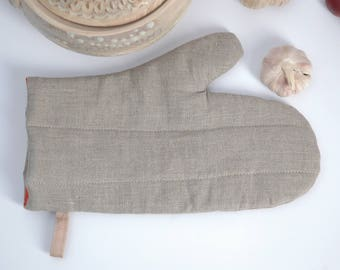 Natural Grey linen Oven Mitt Pot Holder Oven Gloves Potholder Cooking gloves Kitchen Gloves Natural linen potholder Burlap potholders