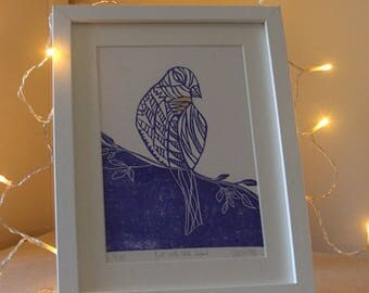 A4 Bird Lino Print with Gold Leaf Detail