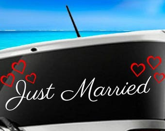 Just Married Car Decal, Wedding Decoration, Wedding Gift, Wedding Day, Wedding Sign, Get Away Car Decal, Just Married, Wedding Car Decal