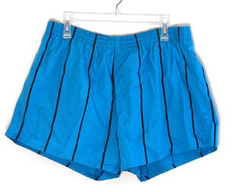 Vintage 80s shorts striped blue turquoise black swim trunks